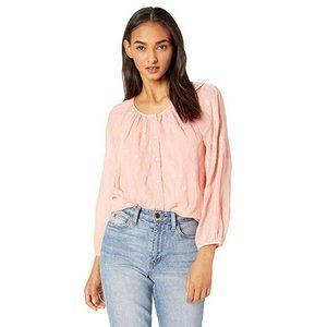 LUCKY BRAND Women's Geo Embroidered Peasant Top XS